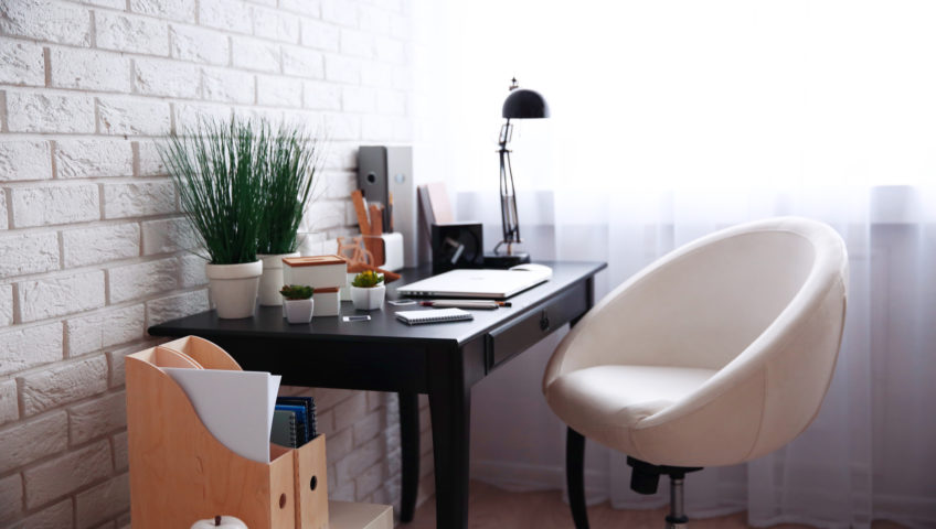 home office com iluminação